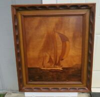"""Vintage Custom Made Wooden Sailboat Picture In Large Wood Frame 28""""L x 24""""W"""
