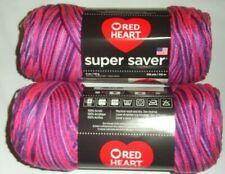 Red Heart Super Saver Yarn, Lot of 2 Skeins, 5 oz ea, 236 yds, Plum Pudding