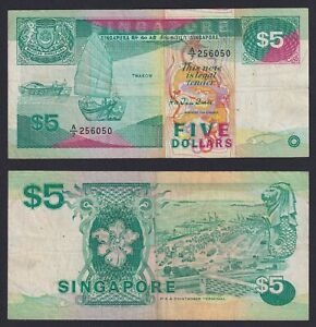 Singapore 5 dollars 1989 BB/VF  C-08