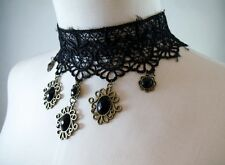 Victorian Black Lace Choker Faceted Bead Pendants Lolita Goth Wiccan Steampunk
