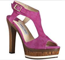 JIMMY CHOO LONDON AUTH $599 Women Fuschia Pink Leather Suede Platform Sandals 10