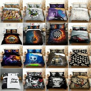 3D Animal Duvet Quilt Cover Bedding Set with Pillowcases Single Double King Size