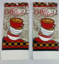 Kitchen Dish Hand Towels Brand New Set of 2! Coffee Time Cups Classy Cafe Theme