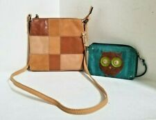 FOSSIL tan leather patchwork SMALL shoulder CROSSBODY with  FOSSIL OWL WRISTLET