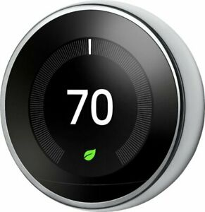 Google Nest Learning Thermostat 3rd Generation Polished Steel T3007ES Brand New