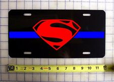 THIN BLUE LINE SUPERMAN CUSTOM LICENSE PLATE POLICE LAW ENFORCEMENT