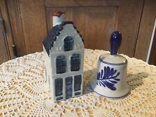 Pre Owned Hand Painted Delft Art Pieces From Holland.  Bell. Mini House.