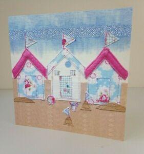 Greeting Card - Beach Huts (Blank Inside) - Birthday, Notecard Etc