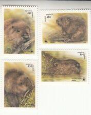 Belarus 1995. European beaver. Wild Animals.4 stamps, WWFMNH