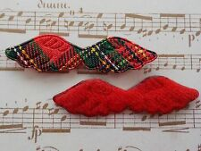 "100! Cute Christmas Padded Angel Wings - Red Tartan & Felt Wing - 47mm/1.75"""