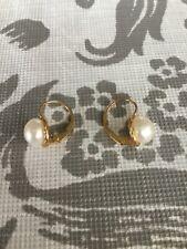 14k Button Pearl drop Earrings. 7mm