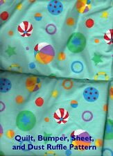 BEACH BALL 4 Pc Nursery Baby Bedding Summer Green Whimsical Tropical Boy Girl