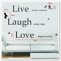 Large Live Laugh Love Wall Stickers Art Mural Quote Wallpaper Living Room Decals