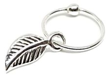 Nose Ring Leaf Charm 10mm Tragus Earring 22g (0.6mm) Ball Fix 925 Silver Ring