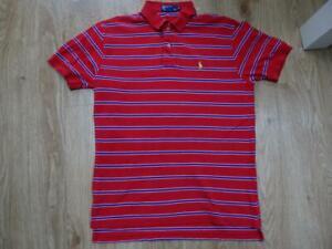RALPH LAUREN POLO mens red blue stripe designer t shirt MEDIUM authentic