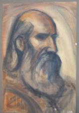 Vintage Impressionist watercolor painting old man portrait