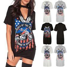 Womens Rock America Oversize Keyhole Cut Choker Neck Tunic Long T Shirt Dress
