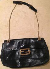 FENDI Navy Leather Baguette Chain Flap Bag 8BT139-ZM1 Borsa Dark blue gold chain