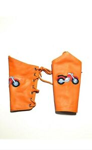 Orange Bike 2 Pieces Genuine Leather Gauntlet Cuff Wristband Arm Band 01 Pair