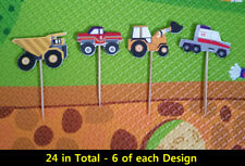 24 PCS Boys Trucks Cars CUPCAKE CAKE TOPPERS KIDS PARTY SUPPLIES BIRTHDAY
