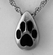 Pet Crematioln Stainless Tear Drop black paw Pendant Necklace Jewelry (DISCOUNT)