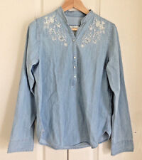 Abercrombie & Fitch Women Shirt L Floral White Blue Wash Denim Long Sleeve New