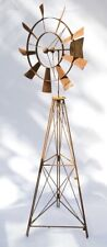 Windmill Rusty Metal Garden Sculpture Statue 208 cm
