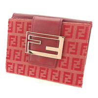 Fendi Wallet Purse Folding wallet Zucchino Red Woman Authentic Used T1732