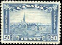 Canada Mint H VF Scott #176i PALE BLUE 50c 1930 KGV Arch-Leaf Stamp