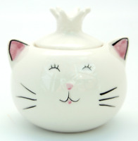 Cheeky White Ceramic Porcelain Trinket Dish Sugar Cube Bowl Small Pot with Lid