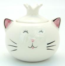 CHEEKY CERAMIC WHITE CAT TRINKET POT WITH LID | STORAGE POT | SUGAR CUBE BOWL