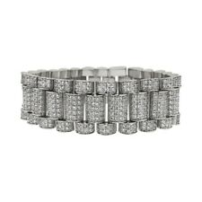 Silver 22mm Iced Out CZ Mens Large Presi Bracelet