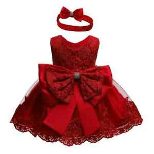 New Birthday Wear For Baby Girl Party Red Dress Princess Wedding Kids Clothes