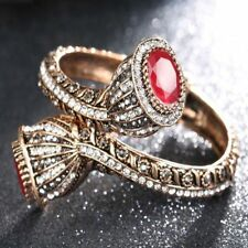 Women Antique Gold Colour Red Resin Lily Flower Bracelets Full Crystals Pop
