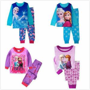 Mädchen Frozen Eiskönigin Elsa Langarm Pyjama Sets Schlafanzug Hausanzug Shirt