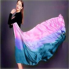 Colorful Gradient Women Silk Scarf Shawl Belly Dance Waving Scarf Veil 100*190cm