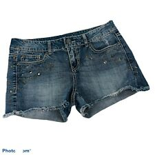 MAURICES Women's Blue Jean Bootie Shorts Sz 5/6 Studding Frayed Ripped & Torn