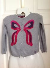 TED BAKER GREY HOT PINK PURPLE RED BOW LONG SLEEVE KIDS CARDIGAN Girls AGE 5-6