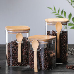 Airtight Food Storage Glass Coffee Spice Flour Jars Containers with Lids+Spoon A
