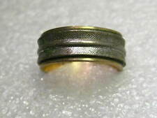 Vintage Sterling Silver and 10kt G.F. Two Tone 7mm Wedding Band, sz. 5,  ESPO