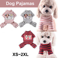 Puppy Pet Small Dog Cat Clothes Comfy Pajamas Coat Stripes Jumpsuit Costume