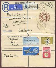 GHANA 1958 STATIONERY REGISTERED WINNEBA P...AIRCRAFT + BIRDS SET FDC