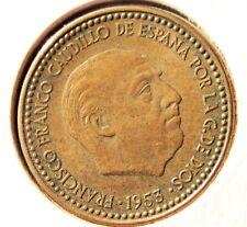 Spain 1 PTA 1953 (54) AU CoinTotal PLUS ULTRA Estrella 54 Moneda Casi Sin Circ