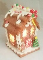 "Gingerbread Man House Brown White Candy LED Light Up Clay-dough 5.5"" Gerson"