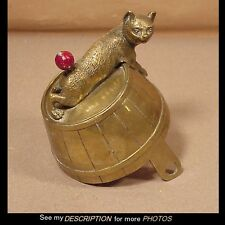 RARE!! 1880-1900 Figural CAT ON A BARREL Brass Servants Butler Hotel CALL BELL