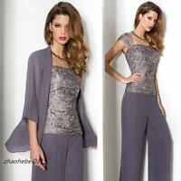 New Chiffon Mother Of The Bride/Groom Outfit Free Jacket Trousers Formal Dresses