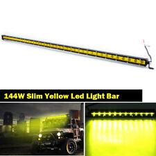 "Slim 50inch 144W Yellow Led Light Bar Single Row Driving SUV Truck Offroad 52"""