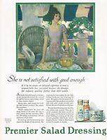 1920s BIG Vintage Premier Salad Dressing Hayden Pretty Lady Kitchen Art Print Ad