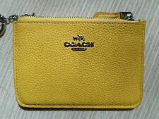 Coach 65566 Canary Yellow Pebble Leather Keyring Coin Purse Card Wallet NWT