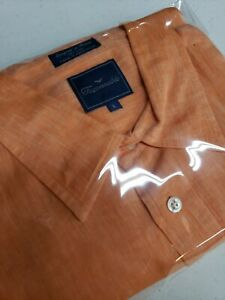 Facconable Casual Button Up Shirt 100% Linen Mens Large Coral Cantaloupe Orange